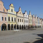 View of Building Facades in Center of Telc, Czech Republic