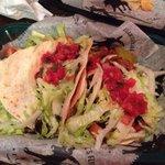 Two shrimp, one veggie taco