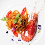 Linguine served with Canary Island Red Prawns