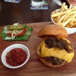 Beef burger with cheddar cheese.