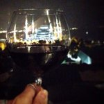 blue mosque is in the glass of red wine. perfect place to enjoy the old city view