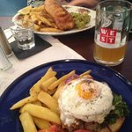 Fish and chips and steak sandwich