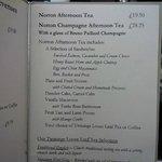 Norton House Afternoon Tea Menu