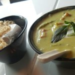 Green curry with brown rice