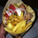 Gyro at a restaurant in Glyfada. €2,10. Best buy. Just up from the church