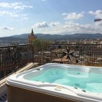 The hot tub on the private roof terrace of room 42