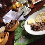 Gallo Pinto breakfast option - eggs, rice & beans, homemade tortillas and fresh cheese.