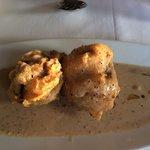 Mushrooms stuffed with pate in a peppercorn sauce....fabulous!