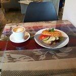 Chili bagel and little chocolate frog at Cafe Stasjonen
