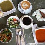 Brunch! soup, salad, latte, flourless choco amazing cake