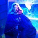 Enjoying a seat in the Icebar