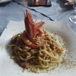 spaghetti con gambero rosa