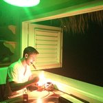 Green lighting in our room at night. Perfect for his after dinner cigar.