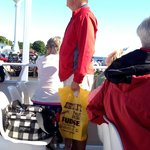Customers heading home on the Mackinac Island ferry with Original Murdick's Fudge.