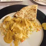 Chicken Korma, Pilau Rice & Garlic Nann