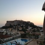 Twilight view of Acropolis from Roof Garden Restaurant