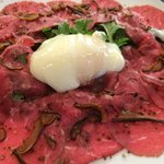 Beef carpaccio -Poached egg-crispy Shiitake,25y old sherry vinegar .