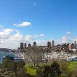View from top of hotel across Rushcutters Bay