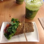 Half serve Falafel wrap and juice
