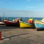 Fishing boats on slipway 50 metres from hotel