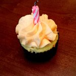 Cupcake with candle for birthday