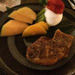 My dessert: grilled fish-shaped red bean with fruits and yuzu ice cream