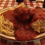 Spaghetti with huge meatball; Wonderful Lasagna