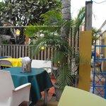 Outside eating area at Bobbejans.