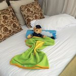 The housemaid used to set my son's bed up like this. So cute