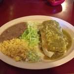 The famous Wet Burrito, this one with mole verde sauce.