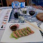 Seared salmon salad and wine