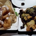 Calamari (left) and cube potato with olive & black pudding (right)
