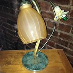 antique lamp on desk