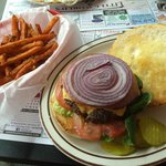 galactic burger n sweet potato fries