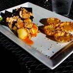 Salmon, mango and shrimp tapas