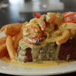 Locally grown Eye fillet with surf n turf sauce
