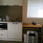 Kitchen and desk area