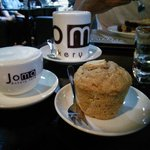 Apple & cinnamon oat muffin with a cup of London Fog.
