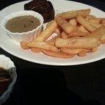 Steak, mushroom sauce, fries $32