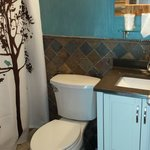 our bathroom in the remodeled room.  Love the colors!