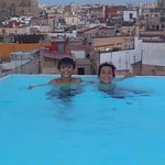 Rooftop pool at the end of a long hot day of touring