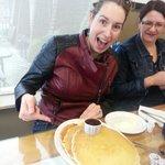 Little plates of pancakes for breakfast.