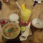 The very delicious Borbor (fish rice soup) & Mango Smoothie.