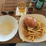 Clam chowder, local ale, burger & fries
