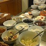 Breakfast: jams, cheese, seafood, etc.