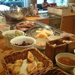 Breakfast: Fruits, ham, cheese, pickles, breads...
