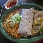 Burro, taco, rice and beans