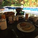 Freshly prepared early morning breakfast