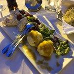 cheese balls, goat chees and tuna fish rolls