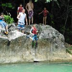 7-year old doing the rock jump into the rivier